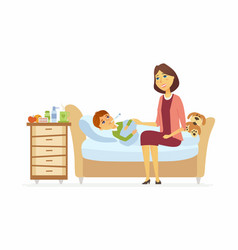 Mother with an ill boy - cartoon people characters vector