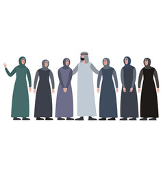 muslim family man with a harem in minimalist vector image