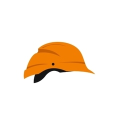 Orange construction helmet icon flat style vector