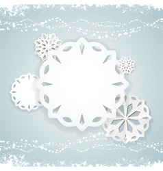 paper snowflake background on blue2 vector image
