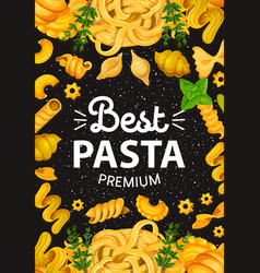 Pasta with greenery italian cuisine vector