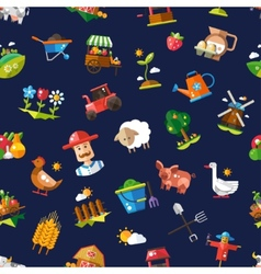 Pattern of modern flat design farm and vector image