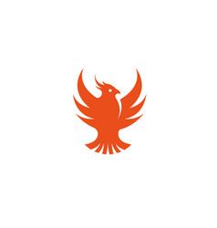 phoenix bird eagle open wings flying logo vector image
