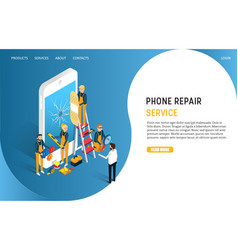 phone repair service landing page website vector image