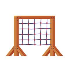 Playground equipment with climbing rope net vector