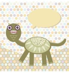 Polka dot background pattern Funny cute dinosaur vector image