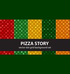 Polka dot pattern set pizza story seamless vector