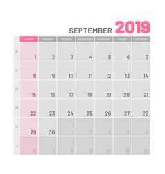 Practical light-colored planner 2019 september vector