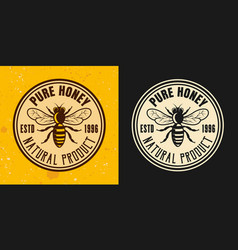 Pure honey two colored styles round emblem vector