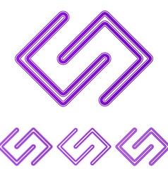 Purple line science logo design set vector