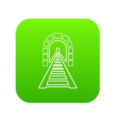 Railway tunnel icon green vector