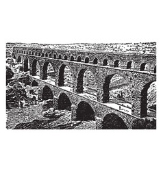 Roman aqueduct in order to bring water from often vector