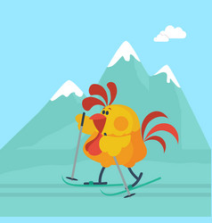 Rooster skiing in mountains cartoon flat vector