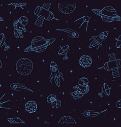 seamless pattern with cosmonauts ufo rocket vector image