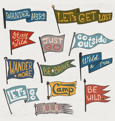 Set adventure outdoors camping colorful vector