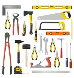 set of repair and woodwoork tools on a vector image