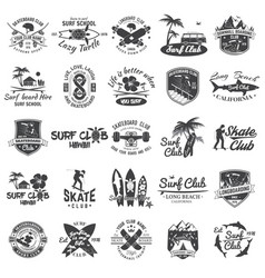 set of skateboard longboard and surf club badges vector image