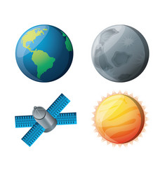 Set planets with natural and technology satellites vector
