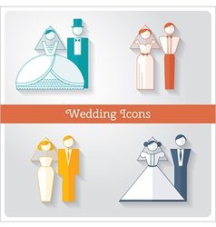 set wedding icons vector image