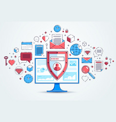shield over computer monitor and set of icons vector image
