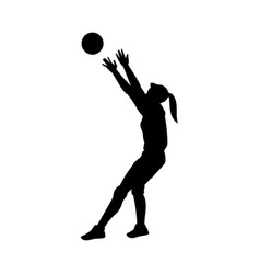 silhouette female volleyball player flat vector image