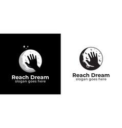 Silhouette reaching dream logo design black vector