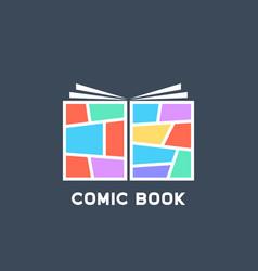 Simple colored linear comic book logo vector