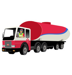smiling truck driver driving gas tank truck vector image