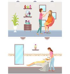 Spa salon hair wash of client beauty expert makeup vector
