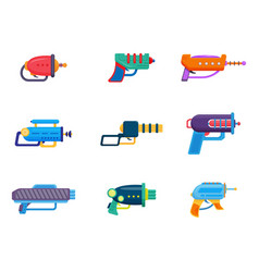 Space ray gun set laser blaster toy weapon of vector