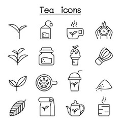 Tea icon set in thin line style vector