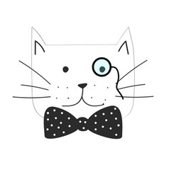 The grumpy cat with bow tie vector