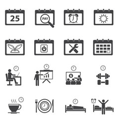 Time calendar daily routine icons set vector