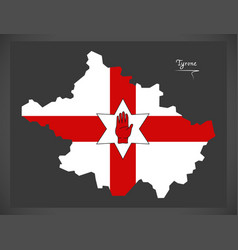Tyrone northern ireland map with ulster banner vector