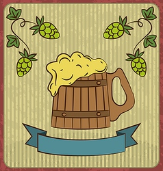 Vintage card with wooden mug beer vector image