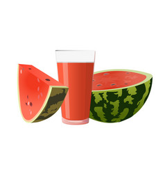 watermelon and glass of juice vector image