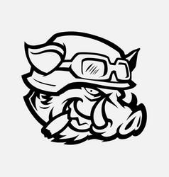 Wild hog head mascot vector