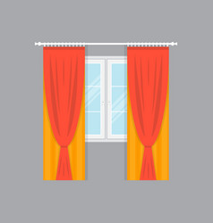 window with elegance curtains isolated vector image