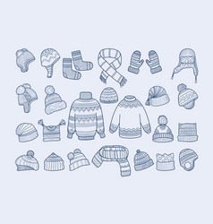 winter clothes xmas fashion hat mittens socks vector image