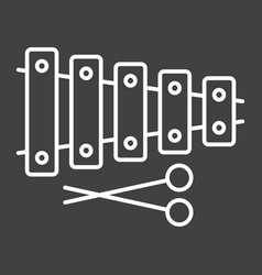 xylophone line icon music and instrument vector image