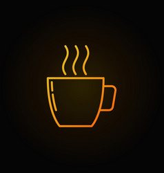 yellow coffee cup outline icon on dark background vector image