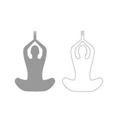 yoga pose of woman grey set icon vector image