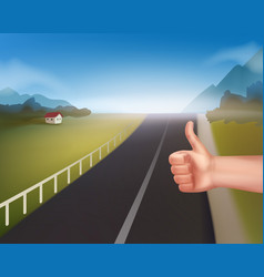Hand of hitchhiking vector