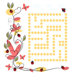labyrinth for ladybug on white background vector image