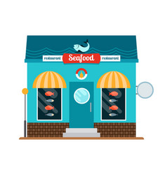 Seafood restaurant front vector