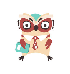 smart cartoon owl bird colorful character vector image
