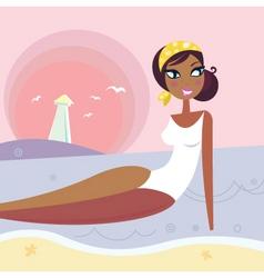 summer woman lying in sea vector image vector image