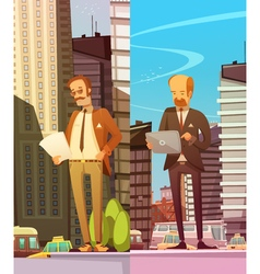 Two Businessmen At Big City Background vector image