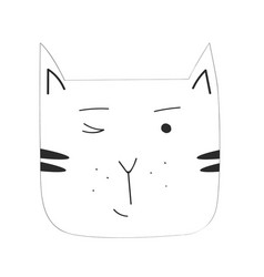 cartoon black cat isolated on blank space vector image