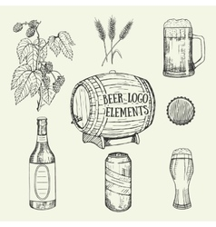 Creative beer set with mug bottle glass can vector image vector image
